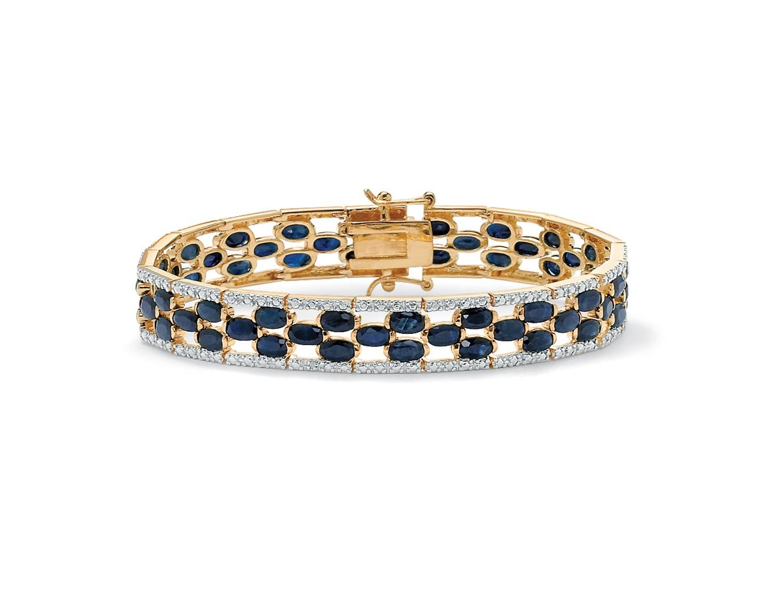 20.66 TCW Oval-Cut Midnight Blue Genuine Sapphire Diamond Accent 14k Gold-Plated Tennis Bracelet by PalmBeach Jewelry