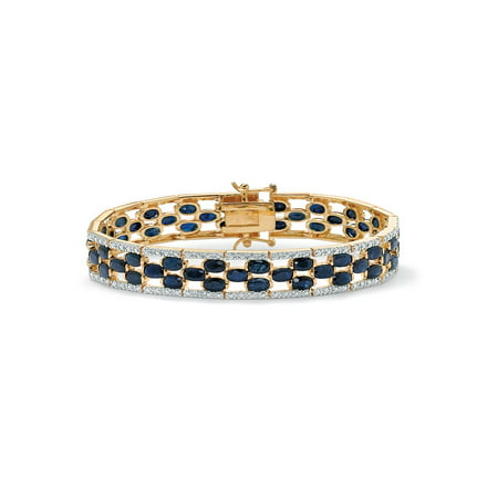 - 20.66 TCW Oval-Cut Midnight Blue Genuine Sapphire Diamond Accent 14k Gold-Plated Tennis Bracelet