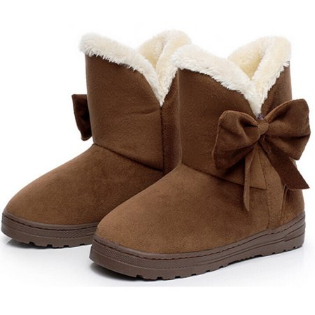 DYMADE Women's Bowtie Suede Leather Fur Lining Winter Boots Platform Fur Plush Ankle Boots (Womans Boot Liners)