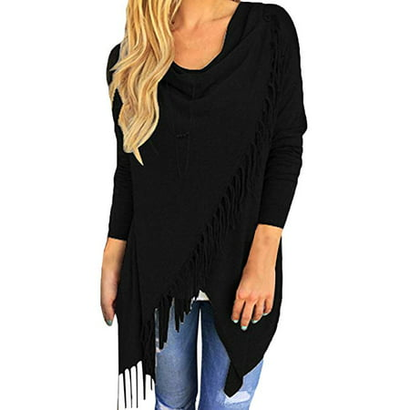 Women's Tassel Hem Open Front Cardigan Pullover Knit Sweater Coat