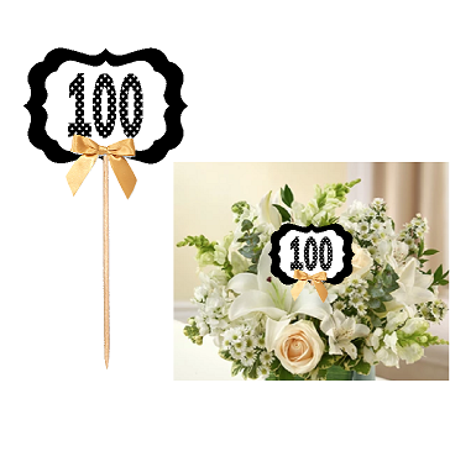 100th Birthday / Anniversary Table Decoration Party Centerpiece Pick - Set of 6](100th Birthday Party Decorations)