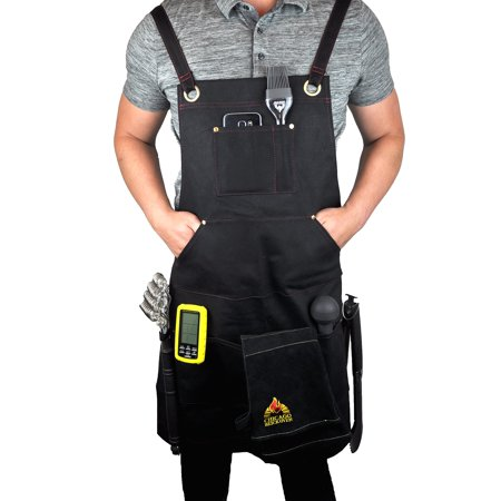 Halloween Cooking Bbc (Black Welding BBQ Cooking Apron with Heavy Duty Waxed Canvas - Adjustable Sizing Straps Makes Great as Barber, Chef, Hairdresser)