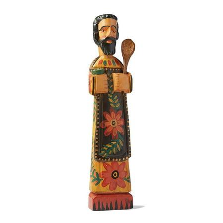 "Patron Saint of Cooks Wooden Sculpture, San Pasqual - 15"" Tall, Fair Trade"