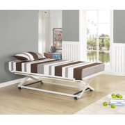 twin size copper metal day bed frame with white pop up high riser trundle - High Riser Bed Frame