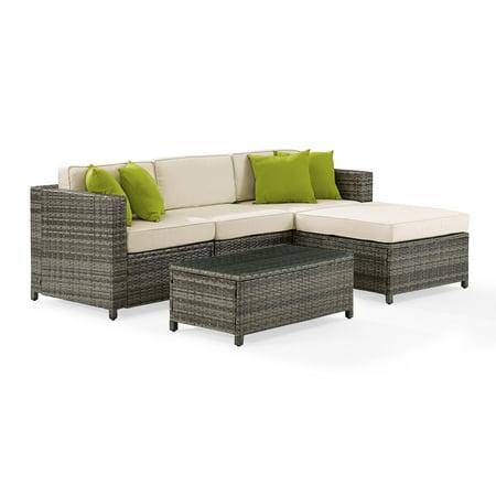 Crosley Furniture Sea Island 5 Piece Wicker Sectional Set In Gray