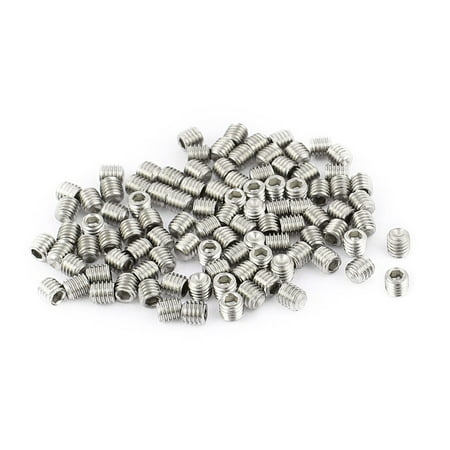 Uxcell M3 x 3mm Stainless Steel Hex Socket Set Grub Screws Headless Cup Point (100-pack)