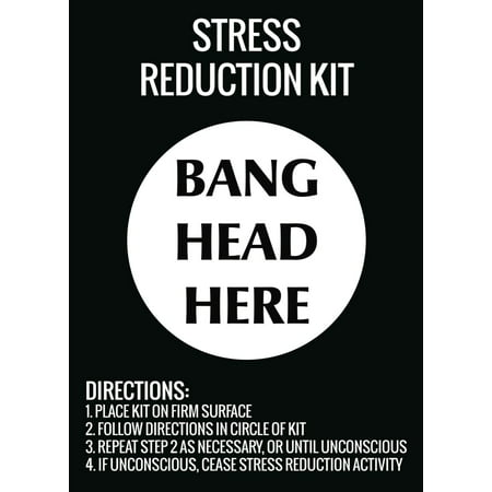 Stress Reduction Kit Bang Head Here Wall Hanging Print Funny Directions (Here Hanging)