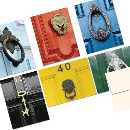 72 Note Cards  - Door Knockers - 6 Designs  - Blank Cards - Off-White Ivory Envelopes Included