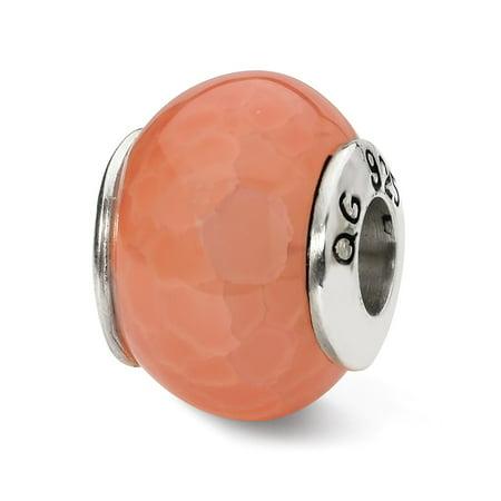 Mia Diamonds 925 Sterling Silver Reflections Orange Cracked Agate Stone Bead