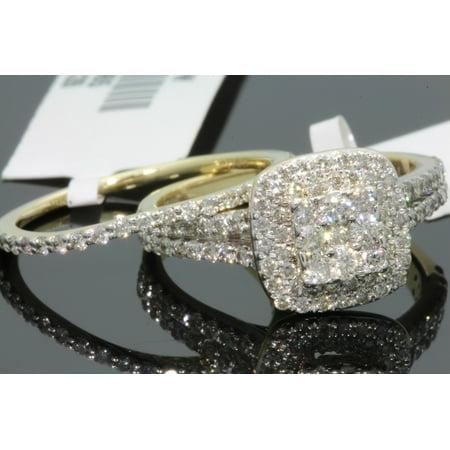 10K YELLOW GOLD 1.51 CT WOMEN REAL DIAMOND ENGAGEMENT RING WEDDING BAND RING SET
