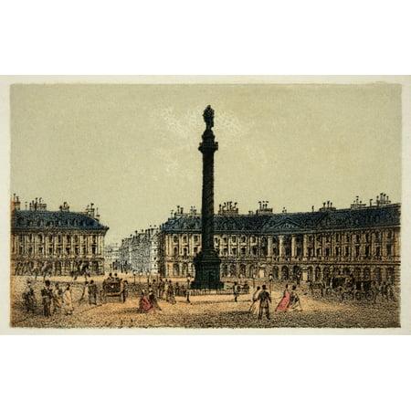 Gravure  Paris En 1874  La Place Vend   8482    167 Me  Coll Canvas Art     36 X 24