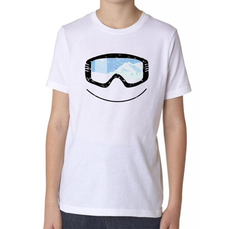 All Mountain Twin Tip Snowboard - Snowboarding Skiing Googles with Mountain Reflection Boy's Cotton Youth T-Shirt