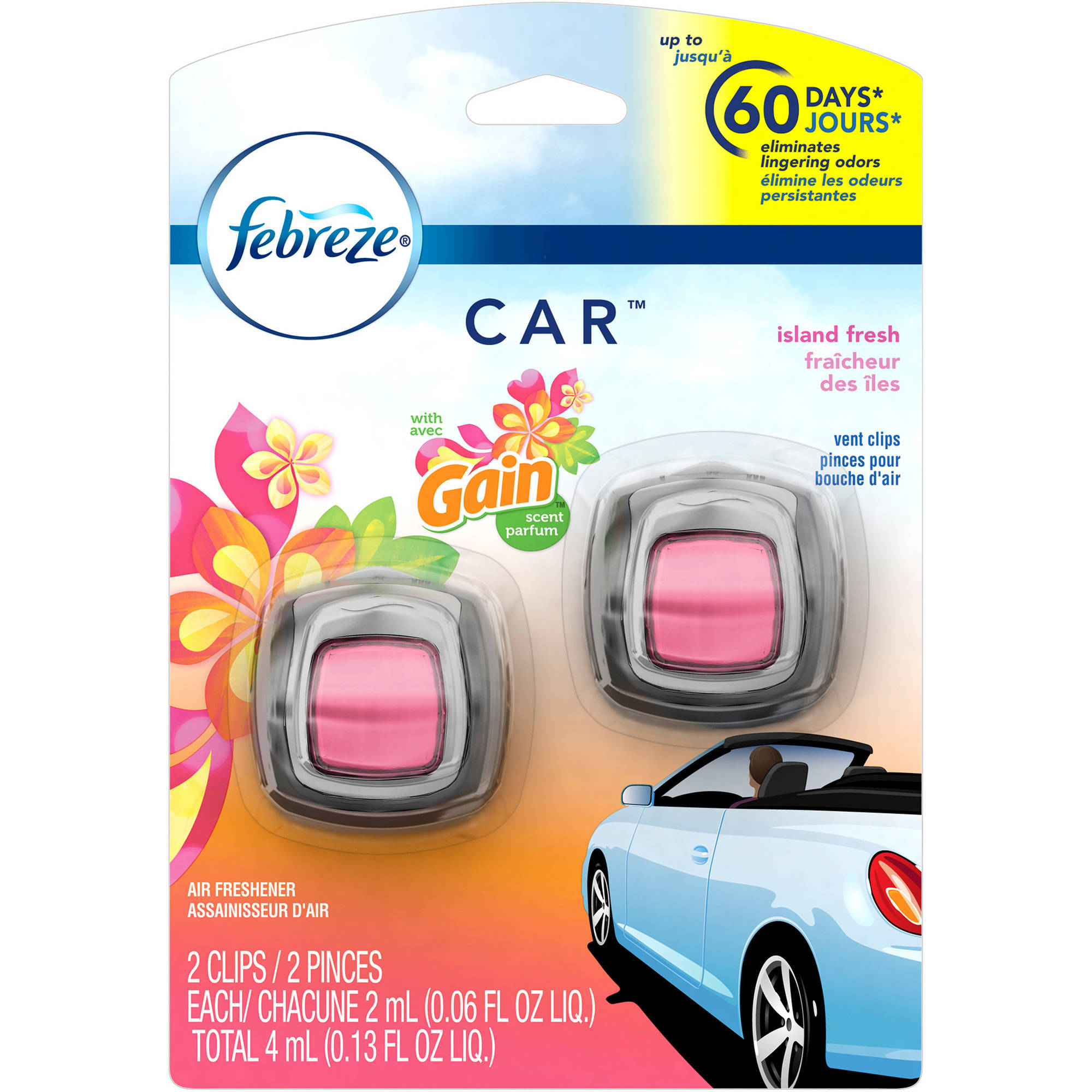Febreze Car Vent Clips Gain Island Fresh Air Freshener, 0.06 fl oz, 2 count