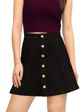 allegra k women's faux suede single breasted front button down short mini a-line skirt l black
