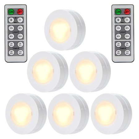 wireless led puck lights with remote control battery powered dimmable kitchen under cabinet. Black Bedroom Furniture Sets. Home Design Ideas