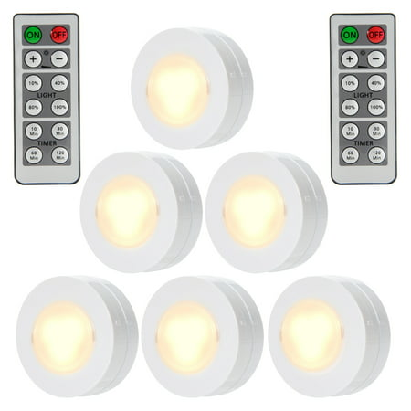 - Wireless LED Puck Lights with Remote Control, Battery Powered Dimmable Kitchen Under Cabinet Lighting-6 Pack