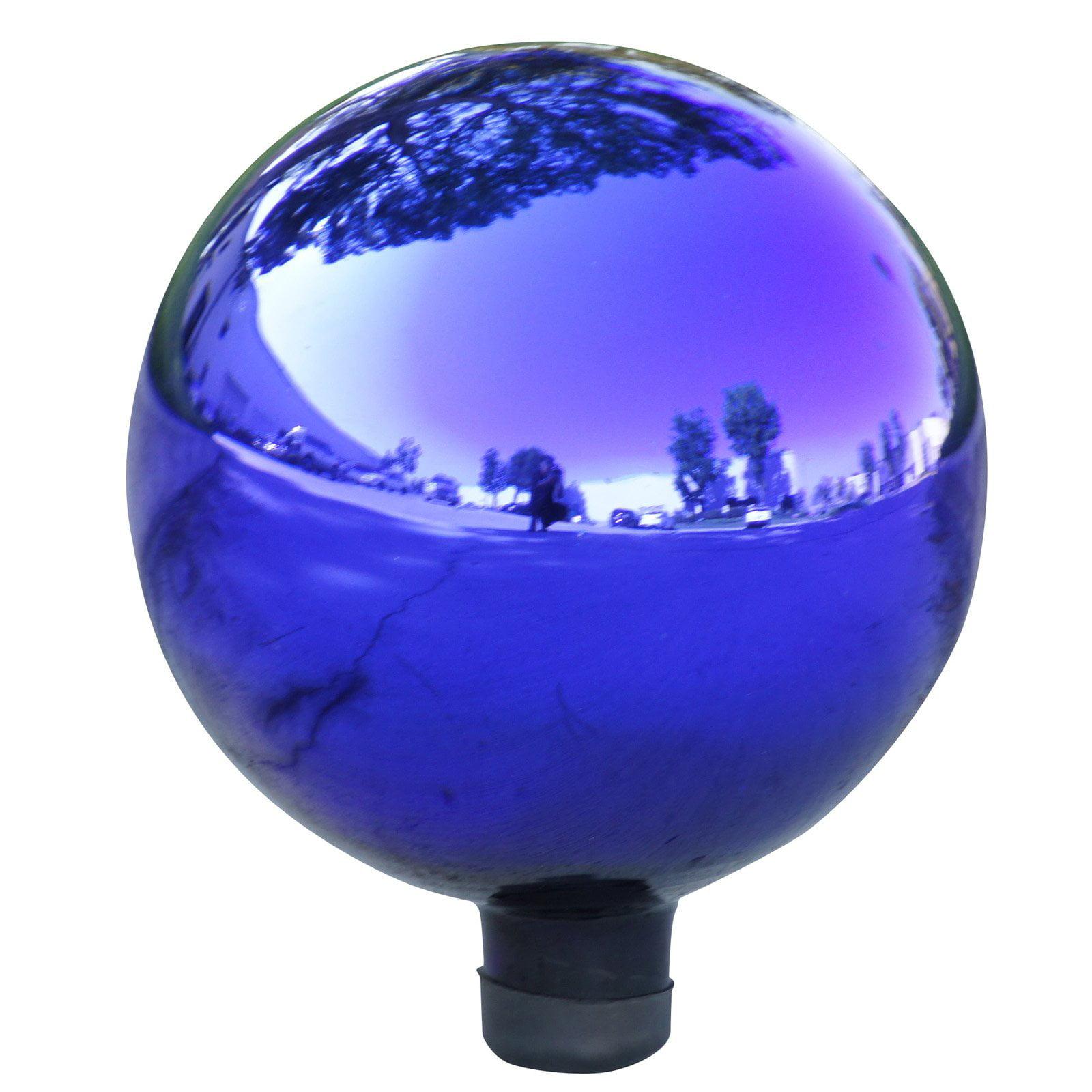 Alpine Electric Blue Glass Gazing Globe, 11 Inch Tall