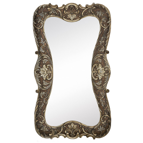 Majestic Mirror Large Curvy Silver with Dark Wash Traditional Hanging Wall Mirror