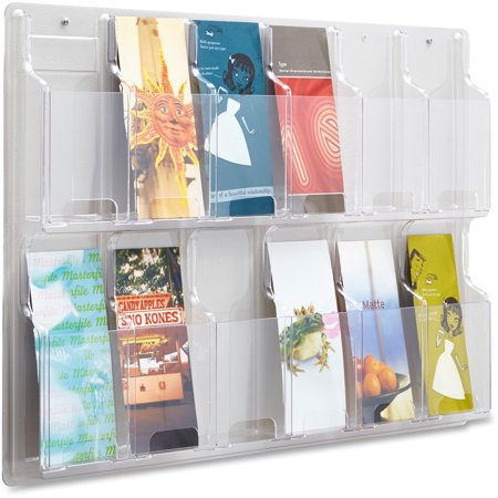 Safco, SAF5604CL, 12 Pamphlet Pocket Display Rack, 1 Each, Clear - Pamphlet Pocket Wood Display Rack
