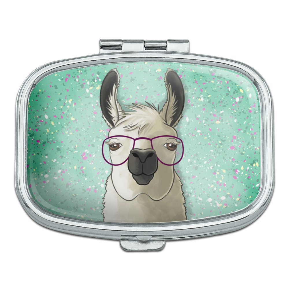 Hip Llama with Glasses Rectangle Pill Case Trinket Gift Box