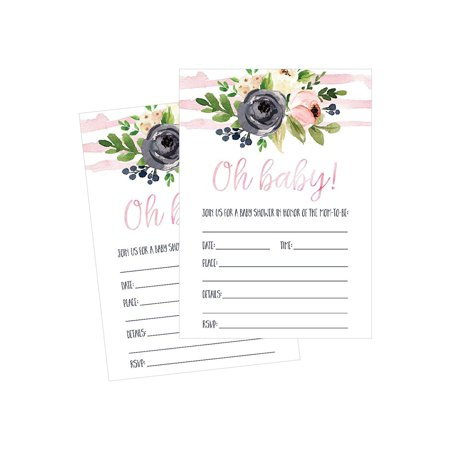 50 Fill in Floral Baby Shower Invitations, Baby Shower Invitations Watercolor, Pink, Neutral, Flower, Blank Baby Shower Invites for girl, Baby Invitation Cards Printable - Baby Shower Cards