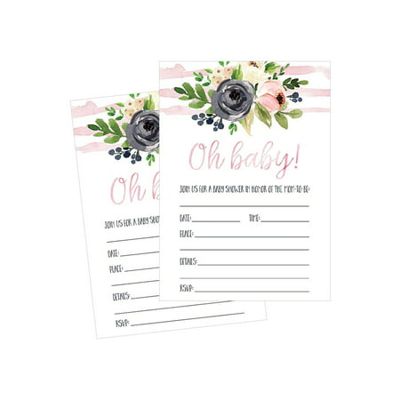 50 Fill in Floral Baby Shower Invitations, Baby Shower Invitations Watercolor, Pink, Neutral, Flower, Blank Baby Shower Invites for girl, Baby Invitation Cards Printable - Casino Invites