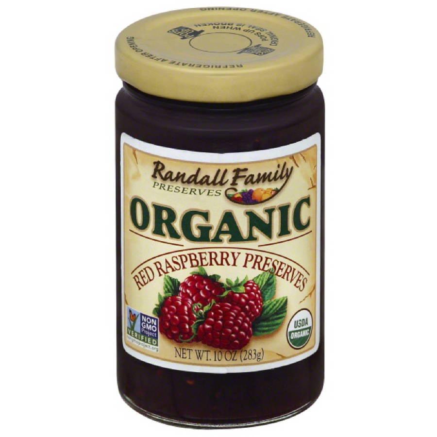 Randall Family Preserves Organic Red Raspberry Preserves, 10 oz, (Pack of 6)