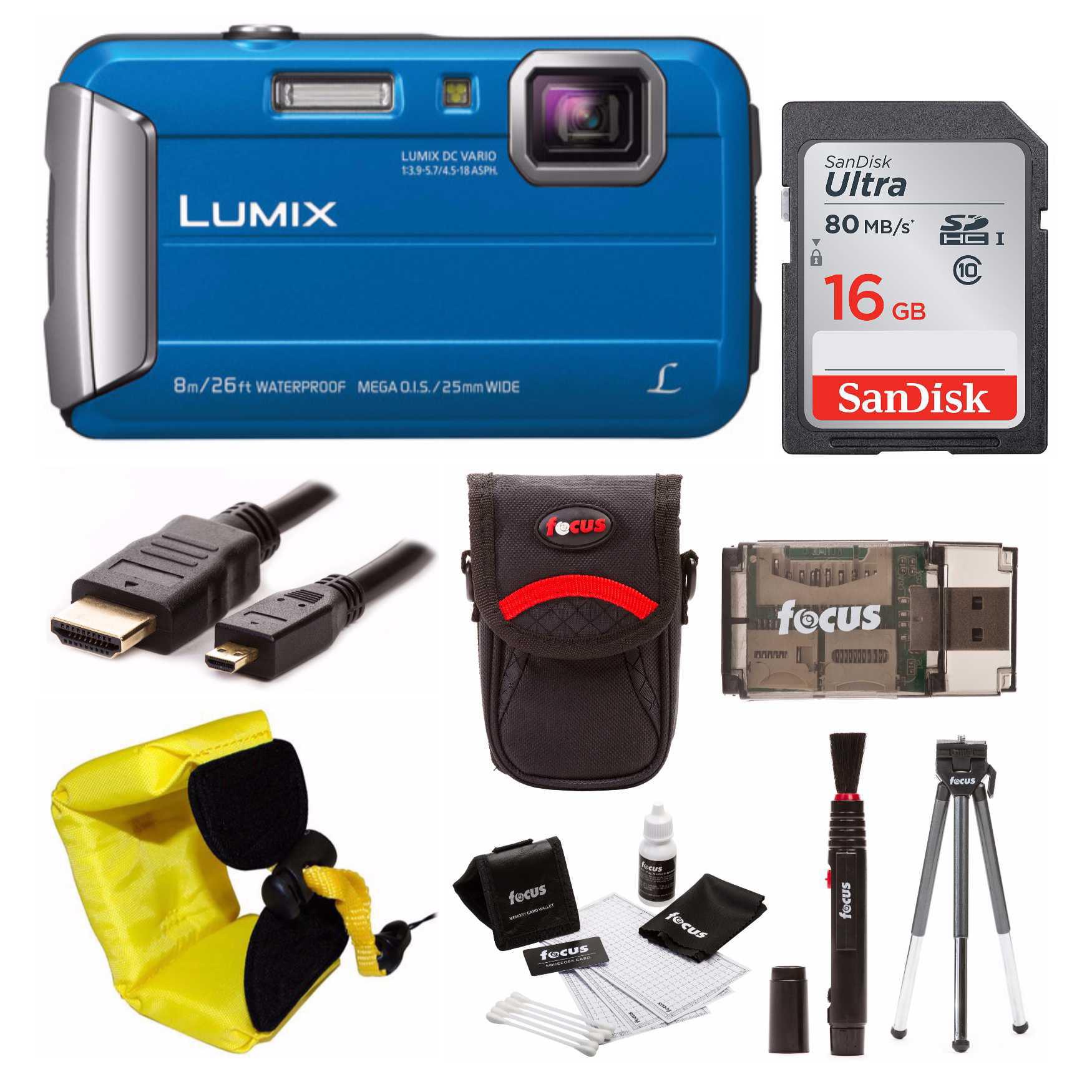 Panasonic Lumix DMC-TS30 Digital Camera (Blue) with 16GB Accessory Bundle
