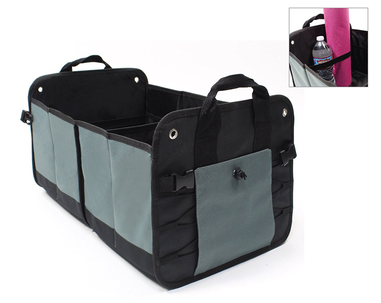 Lk S Collapsible Trunk Organizer Multipurpose Cargo Storage Organizer For Car Suv Or Minivan Foldable Heavy Duty Durable With 12 Interior Pockets As Well As Cargo Straps In Black Walmart Com Walmart Com