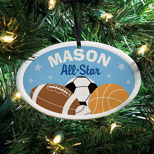 Personalized All Star Sports Ceramic Oval Ornament, 1