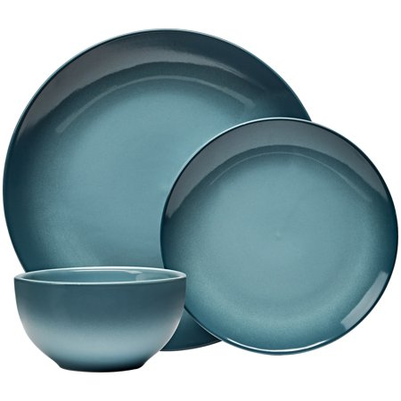 Maianstays Painter's 12-piece Teal Stoneware Dinnerware Set - Green Plate Set
