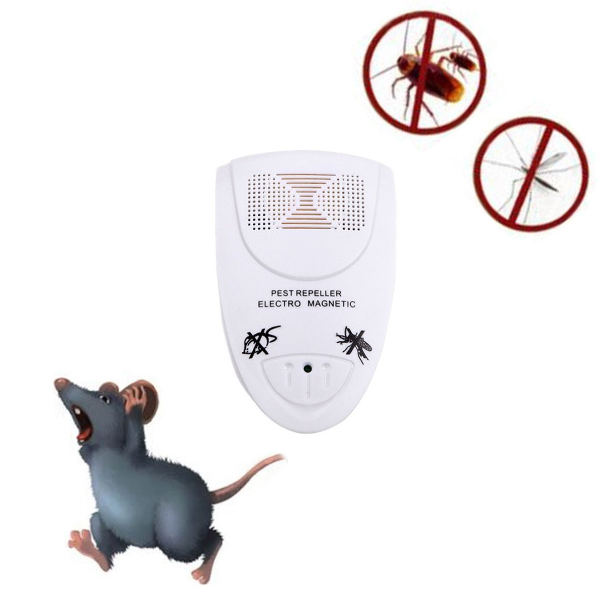 Ultrasonic Pest Repeller Electronic Anti Mosquito Rat Mice Bug Flea Fly Cricket Ant Insects Rodents Control Treatment Repellent Indoor Home Use