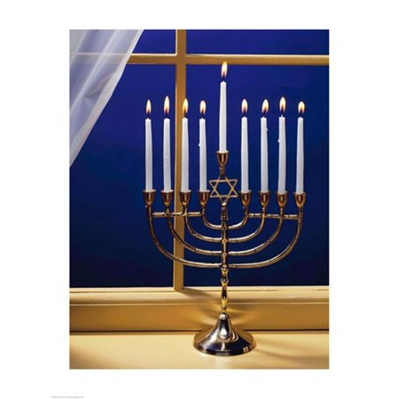 Close-up of burning candles on a menorah at a window Canvas Art -  (18 x 24) (Make A Menorah)