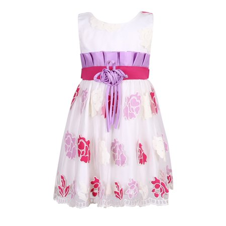 Little Girls Lilac Fuchsia Floral Sweet Party Dress 4