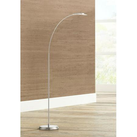 Possini Euro Design Modern Arc Floor Lamp LED Adjustable Satin Nickel Metal Glass Shade for Living Room Reading Bedroom Office ()