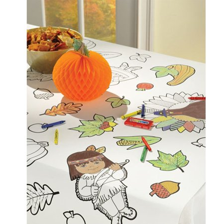 Coloring Kids Thanksgiving Paper Activity Tablecover 36 x 48 - Thanksgiving Arts And Crafts For Kids