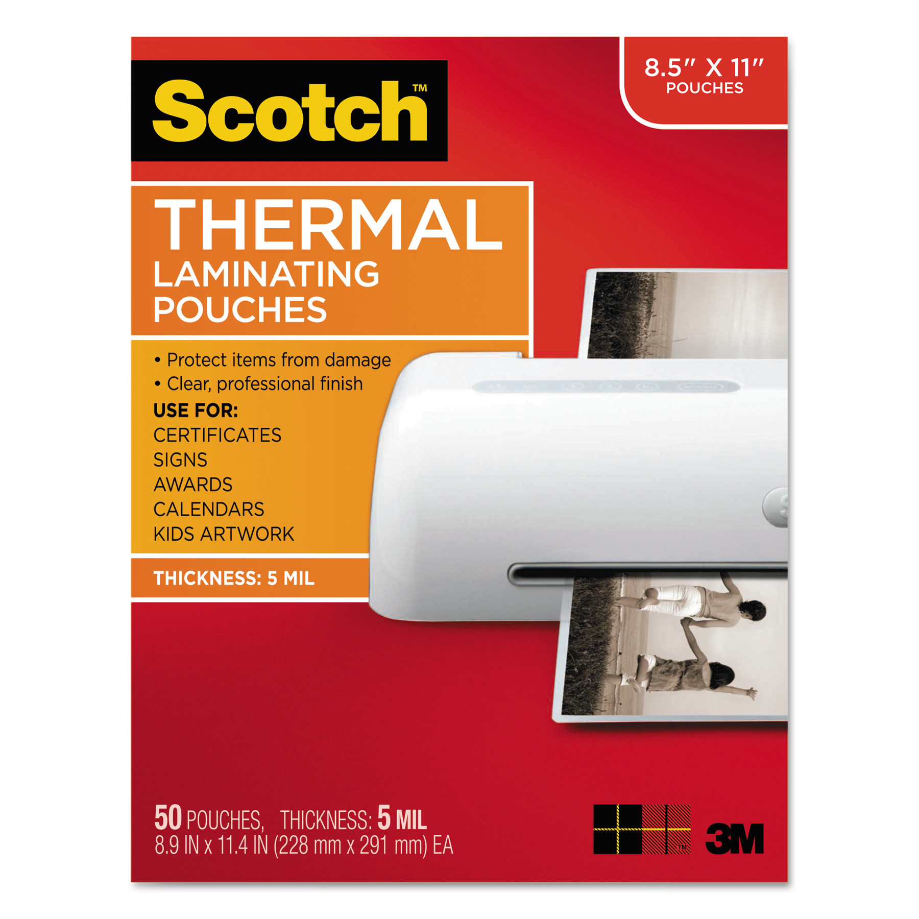 Scotch Letter Size Thermal Laminating Pouches, 5 mil, 11 1/2 x 9, 50/Pack -MMMTP585450
