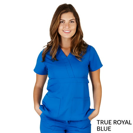 - Ultra Soft -FREE SHIPPING Medical Scrubs Premium Womans Junior Fit 3 Pocket Mock Wrap Top