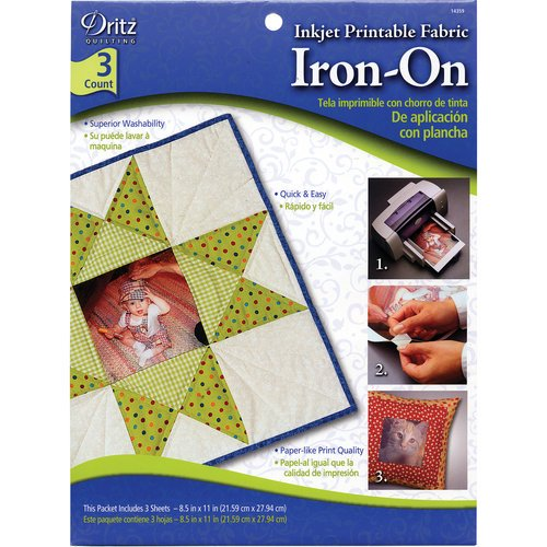 picture about Inkjet Printable Fabric known as Dritz Inkjet Printable Iron-Upon Material, 3 Rely