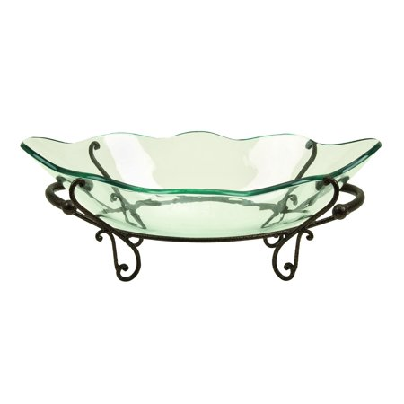 - Decmode Traditional 9 X 23 Inch Metal And Glass Scroll Flourish Bowl Server
