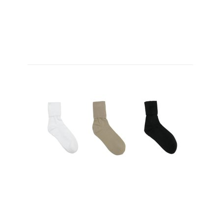 - Womens Organic Cotton Turn Cuff Sock (Pack of 3), Black, Khaki, and White