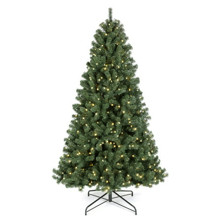Best Choice Products 12ft Pre-Lit Instant Setup No Fluff Hinged Artificial Spruce Christmas Tree w/ 1,250 LED Lights, 4,693 Memory Steel Tips, Metal Stand ()