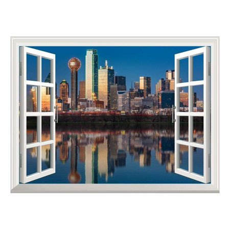 Trinity Sticker (wall26 Removable Wall Sticker/Wall Mural - Dallas Skyline Reflected in Trinity River at Sunset   Creative Window View Home Decor/Wall Decor -)