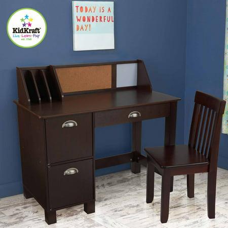 KidKraft Study Desk with Side Drawers, Espresso