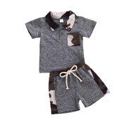 Toddler Infant Baby Boy Outfits Summer Tracksuit Camouflage Short Sleeve Sweatshirt Drawstring Shorts Set