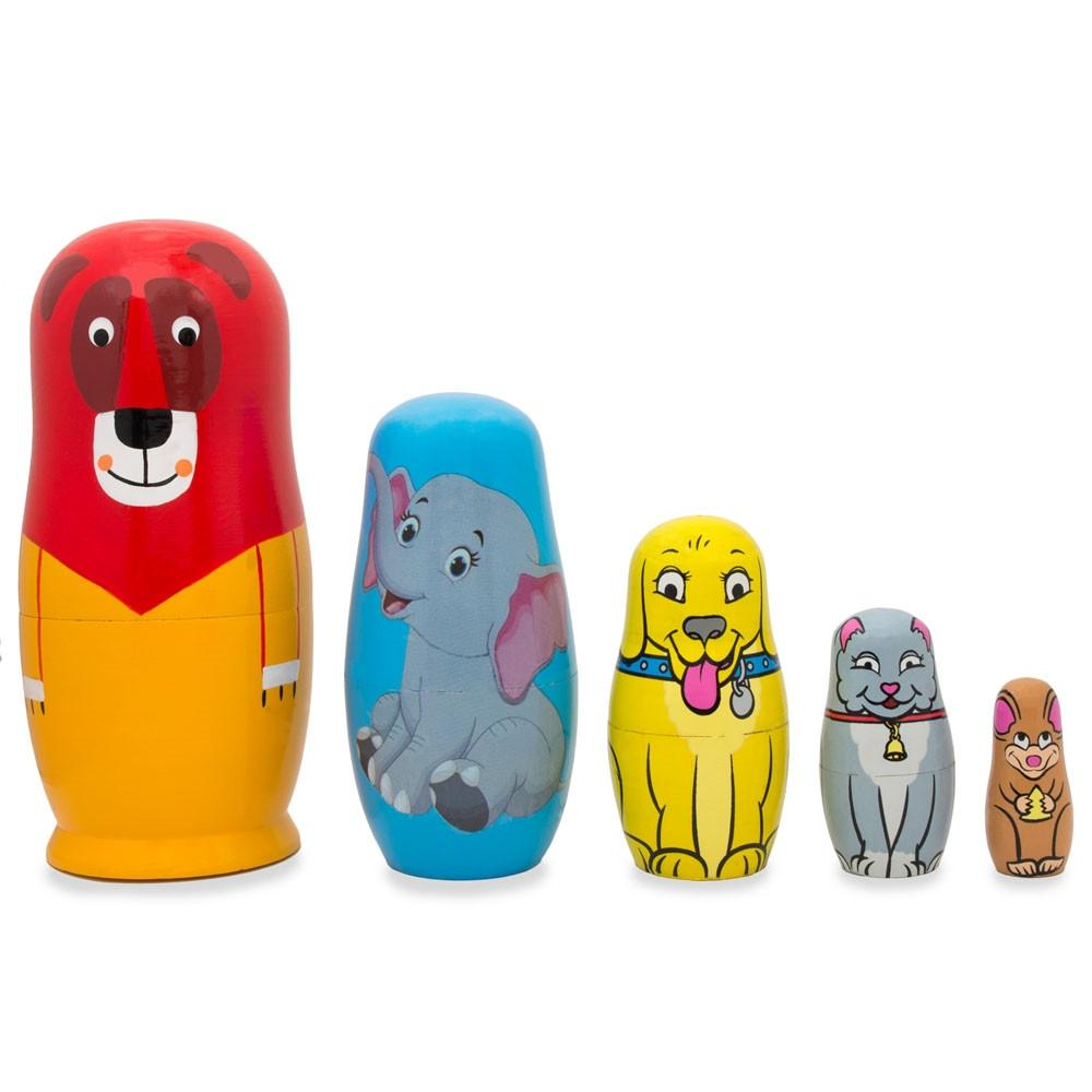 BestPysanky Set of 5 Colorful Cats Wooden Nesting Dolls