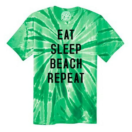 Eat Sleep Beach Repeat Summer Ocean Tie Dye Mens and Womens Tee Shirt
