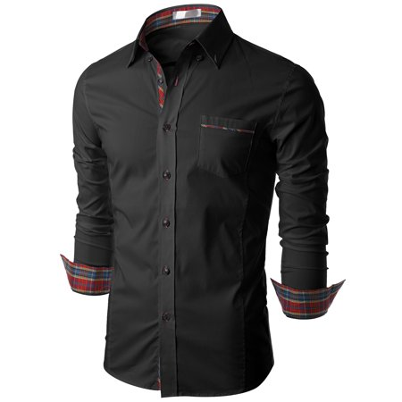 Pinstriped Pocket Dress Shirt (Doublju Mens Long Sleeve Casual Dress Shirt with Contrast Inner And Point)