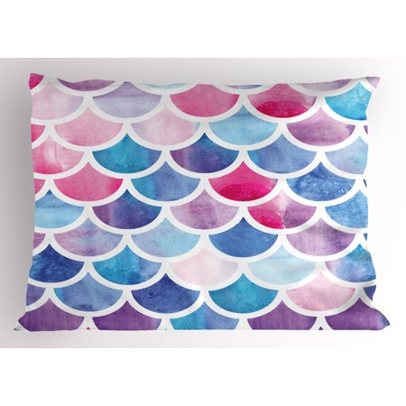 Fish Scale Pillow Sham Circles with Pastel Watercolors Mermaid Pattern Tropical Artistic Illustration, Decorative Standard Size Printed Pillowcase, 26 X 20 Inches, Multicolor, by Ambesonne ()