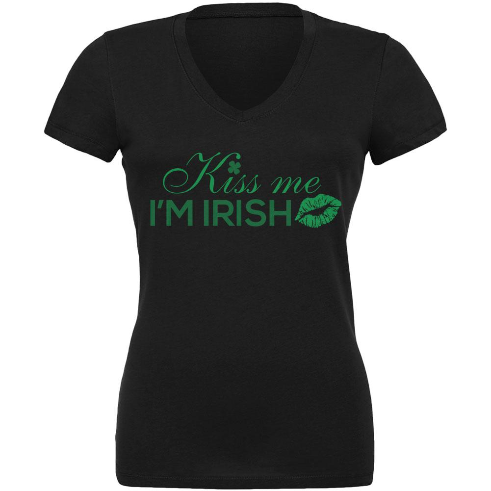Old Glory St Patrick S Day Kiss Me I M Irish Black Juniors V Neck T Shirt Medium Walmart Com Walmart Com